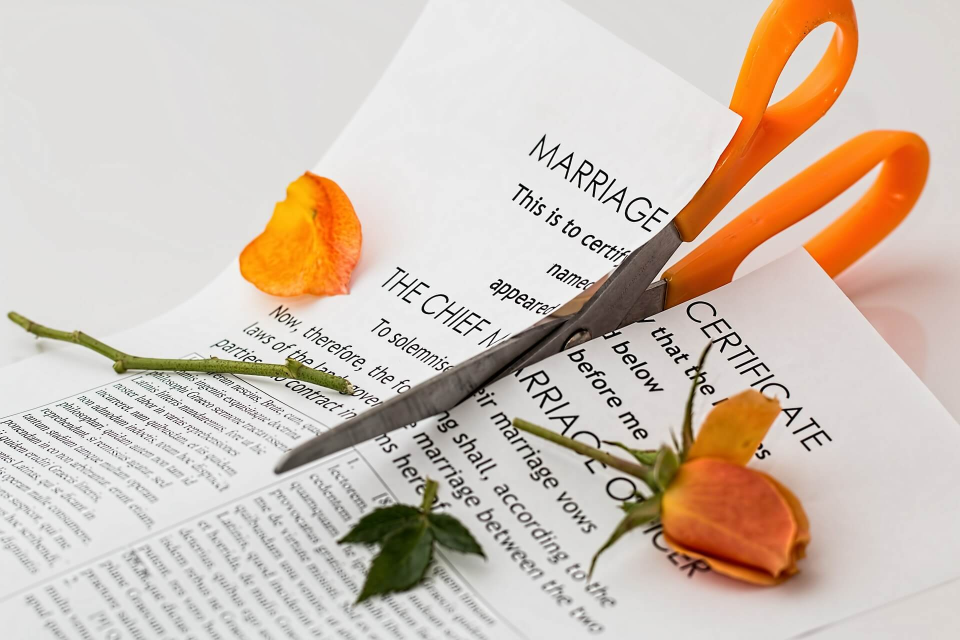Cutting up a marriage certificate
